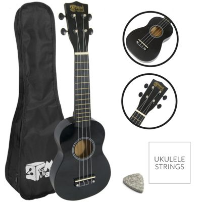 Soprano Ukulele for Beginners in Black with Uke Bag