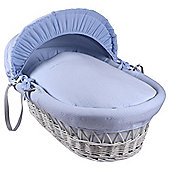 Clair de Lune Blue Cotton Candy Wicker Moses Basket, White