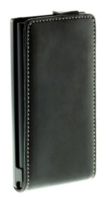 Works with Nokia Luxury Leather Alpha Vertical Flip Case for Nokia Lumia 800 - Black