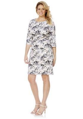 Lovedrobe Rose Print Plus Size Bodycon Dress 26 Grey