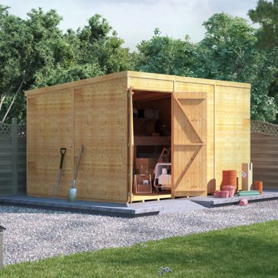 12x8 Tongue and Groove Wooden Workshop Garden Shed Double Door Windowless Pent Premium Roof Floor Felt 12ftx8ft