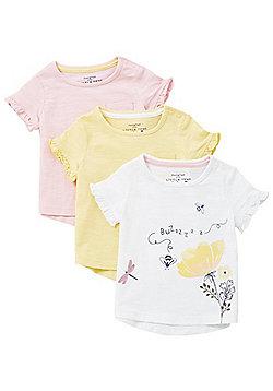 F&F 3 Pack of Ruffle Short Sleeve T-Shirts - Multi