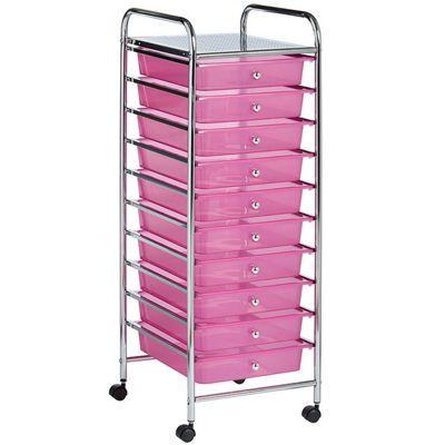 VonHaus 10 Drawer Pink Mobile Storage Trolley