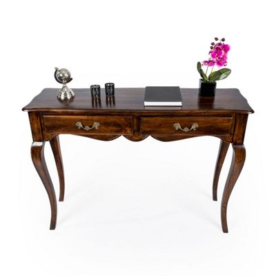 Homescapes New Orleans Dark Honey Vintage Console Table With Cabriole Legs