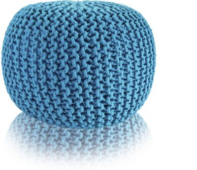 Snug City Teal Knitted Pouffe Chunky Round Footstool Ottoman 100% Cotton Handmade