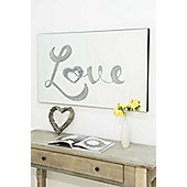 Silver Contemporary Liquid Glass Glitter Love Frameless Mirror 100x60cm