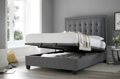 Happy Beds Metro Fabric Ottoman Storage Bed - Grey - 4ft6 Double