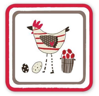 Cooksmart Chicken Design Coasters, Set of 4