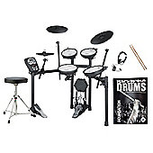 Roland TD-11KV V-Drums Electronic Drum Kit Package With Stool, Sticks, Headphones, Bass Drum Pedal And FREE Backbone Drums Tutorial Book And C.D
