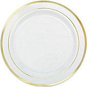 Premium Plastic Plates - 26cm White with Gold Trim