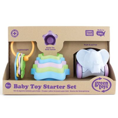 Green Toys Baby Toy Starter Set - First Keys, Stacking Cups and Push/Pull Elephant