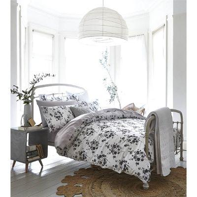 Bianca Cotton Soft Sprig Grey Print Duvet Cover Set - Double