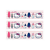 Hello Kitty Pink and White Stripe Self Adhesive Wallpaper Border 5m