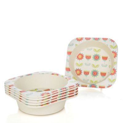 Tiny Dining Children's Bamboo Fibre Dining Bowl - Flower - Pack of 6