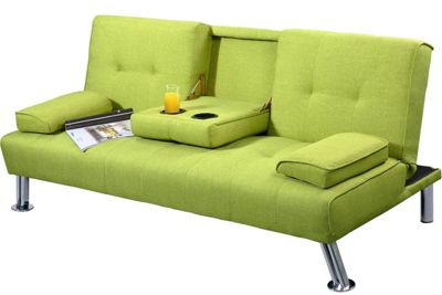 New York Green Fabric 3 Seater Small Sofa Bed