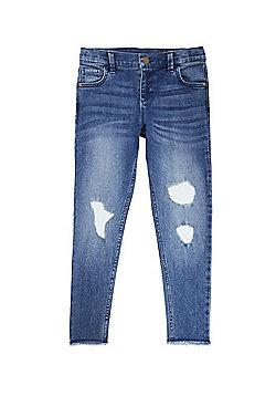 F&F Rip and Repair Frayed Hem Skinny Jeans - Blue