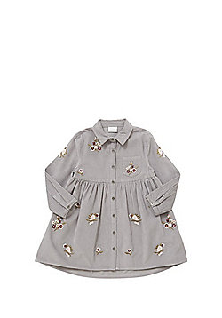 F&F Embroidered Corduroy Shirt Dress - Grey