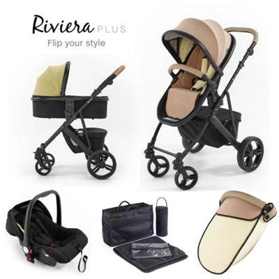 Tutti Bambini Riviera Plus 3 in 1 Black Travel System - Taupe / Pistachio