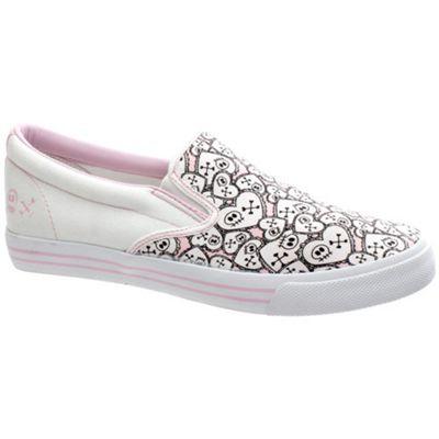 Draven Skullentine Slip on White/Pink Shoe