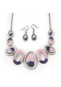 Pink/Purple Enamel Oval Necklace & Drop Earrings Set In Burn Silver - 38cm Length/ 5cm Extension