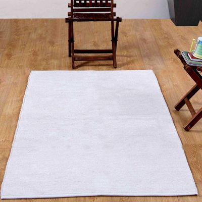 Homescapes Chenille Plain Cotton Small Rug Natural, 45 x 70 cm