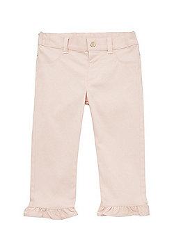 F&F Frill Hem Twill Trousers - Blush Pink