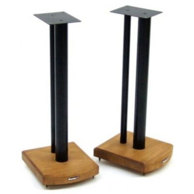 Atacama Moseco 10 Speaker Stands - Medium Bamboo Base + Satin Black Column