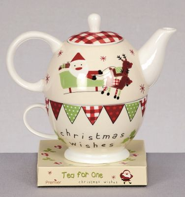 Christmas Wishes Tea For One Gift Set - Tea Pot and Cup