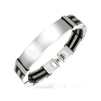 Silver Stainless Steel & Black Rubber ID Bracelet for Men by Urban Male