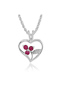 Gemondo Sterling Silver 0.18ct Ruby Floral Heart Pendant on Chain
