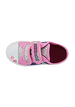 Paw Patrol Pink with Silver Glitter Hook and Loop Trainers UK Sizes 5 -10 - Pink