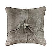 Diamante Crushed Silk Cushion - Khaki & Peral