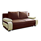 Fabio Sofa Bed 3seater Pu Leather Brown