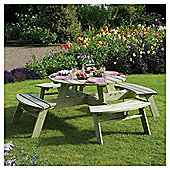 Rowlinson Wooden Garden Picnic Table, Round