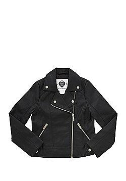F&F Faux Leather Biker Jacket - Black