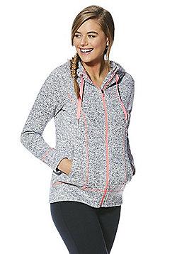 F&F Active Flecked Knit Zip-Through Hoodie - Grey