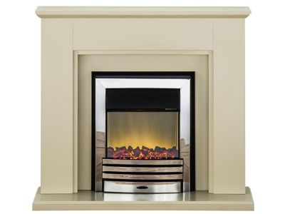 Adam Greenwich Fireplace Suite in Stone Effect with Eclipse Electric Fire in Chrome