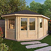 5m x 3m (17ft x 10ft) Sutton Corner Plus Log Cabin (Single Glazing) 34mm **Left Side Entrance Garden Cabin - Fast Delivery - Pick A Day