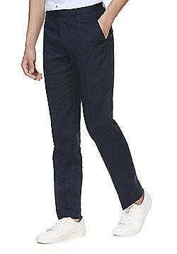 F&F Linen Blend Regular Fit Suit Trousers - Navy