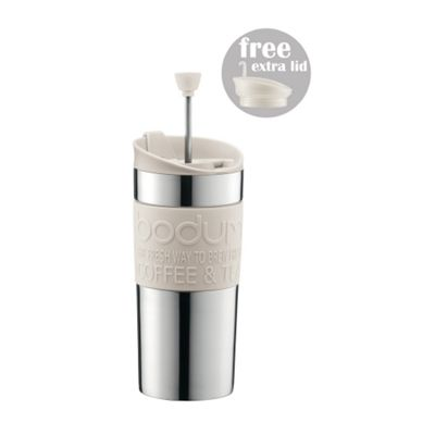 Bodum Stainless Steel Travel Mug, Press Set 0.35L Off White