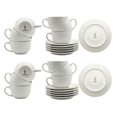 White Cappuccino Large Coffee Cup / Saucer Set - 320ml (11oz) - Set of 12