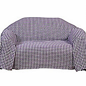Homescapes Purple Houndstooth 100% Cotton Bedspread Throw, 225cm x 255cm