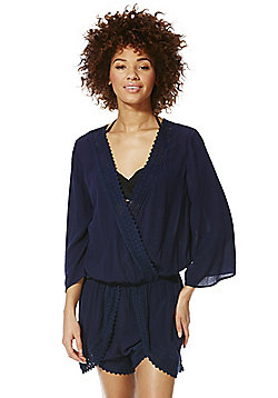 F&F Lace Detail Crinkle Beach Playsuit - Navy