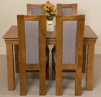 French Rustic 120cm Fixed Solid Oak Dining Table & 4 Solid Rustic Oak Chairs