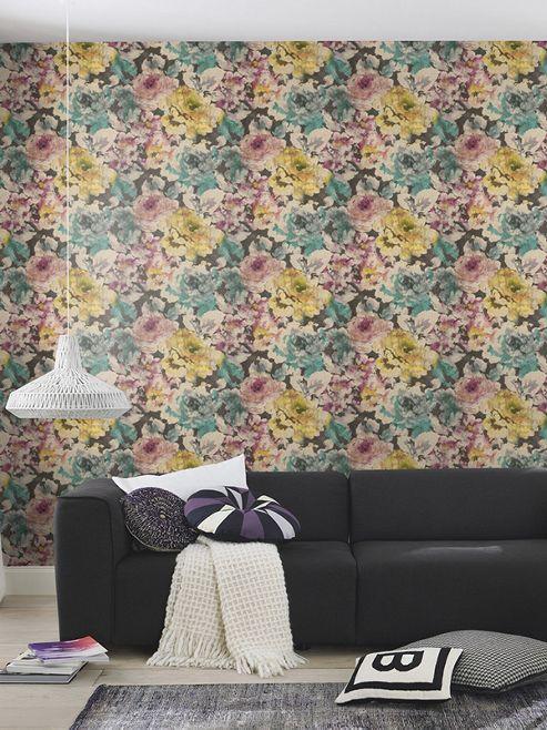 Florentine Floral Fabric Effect Wallpaper Plum, Green and Black Rasch 455649