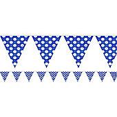 Blue Polka Dot Bunting - Plastic 3.6m