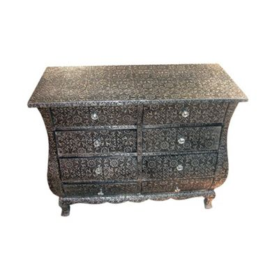Chaandhi Kar Black-Silver Embossed 8-Drawer Chest of Drawers