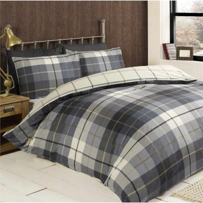 Rapport Lomond Blue Check Flannelette Duvet Cover Set - Double