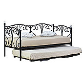 Comfy Living 3ft Single Crystal Day Bed & Trundle in Black with 2 Basic Budget Mattresses