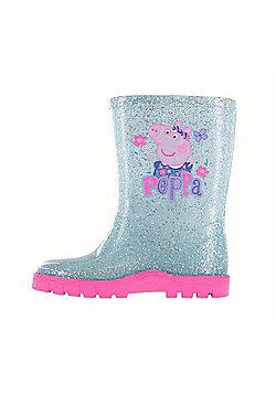 Girls Peppa Pig Glitter Blue Floral Wellington Boots UK Sizes 4 -10 - Blue